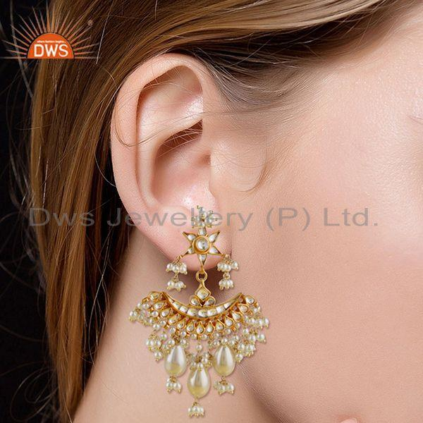 Suppliers Natural White Pearl Gold Plated 925 Silver Traditional Kundan Earring Wholesaler