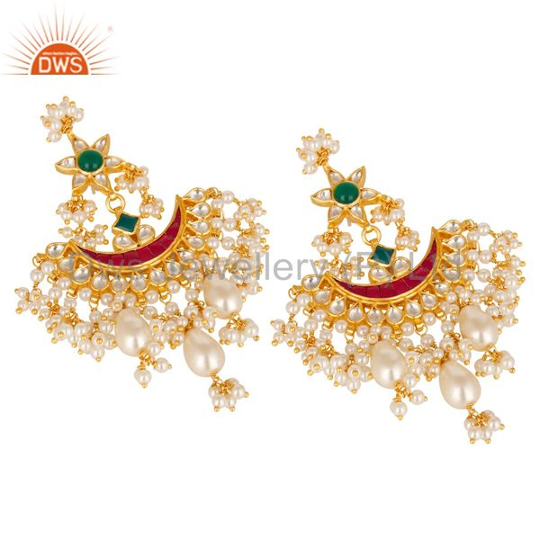 Suppliers Beautiful Multi Color Pearl Beads Chandelier Earring Made In 925 Sterling Silver