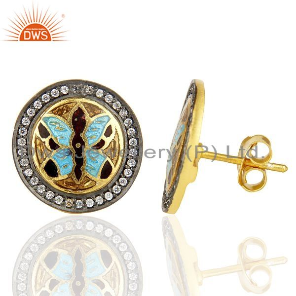 Suppliers 14K Gold Plated 925 Sterling Silver Butterfly Design White Zircon Studs Earring