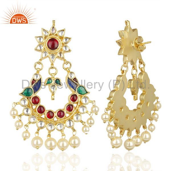 Suppliers Kundan Polki 92.5 Sterling Silver Peacock Traditional Dangle Earring