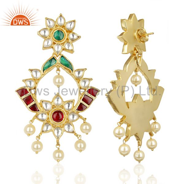 Suppliers Kundan Polki 92.5 Sterling Silver South Traditional Dangle Earring