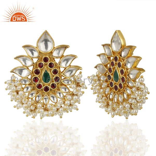 Suppliers 14K Gold Plated 925 Sterling Silver Pearl Beads Chandelier Studs Earrings
