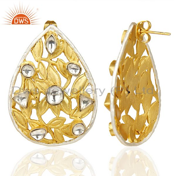Suppliers Crystal Quartz Stud 14K Yellow Gold Plated Polki Brass Earrings Jewelry