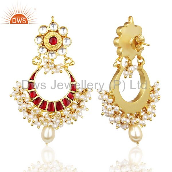 Suppliers Kundan Polki Chandbali Traditional Handmade  92.5 Sterling Silver Earring