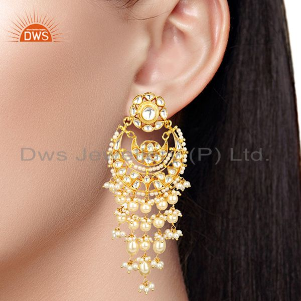 Suppliers Silver Gold Plated Kundan Polki Pearl Hanging Earring
