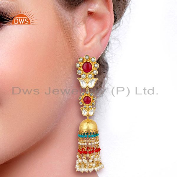 Suppliers Red Green Multy Long Jhumka Dangle Silver Jewelry Earring