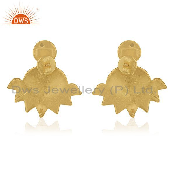 Suppliers Indian Traditional 925 Silver Gold Plated Kundan Stud Earrings Manufacturers
