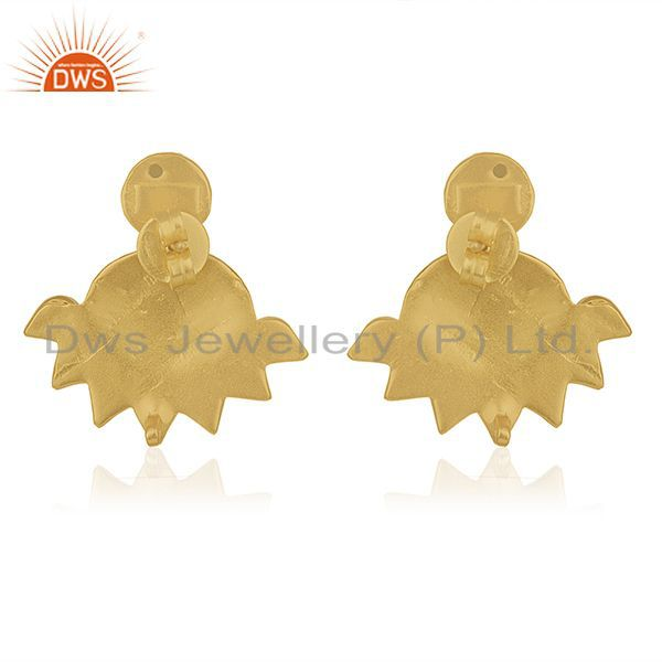 Suppliers 18k Gold Plated 925 Silver White Kundan Traditional Stud Earrings Wholesale