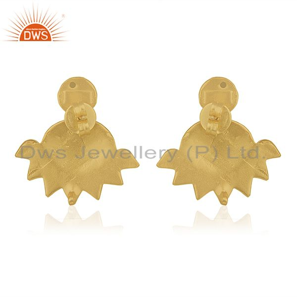 Suppliers Red Stone Gold Plated Traditional Gold Plated Post Stud Wholesale Earring