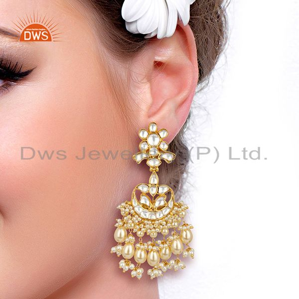 Suppliers Silver Jadau Polki Kundan Traditional Dangle Gold Plated Wholesale Earring