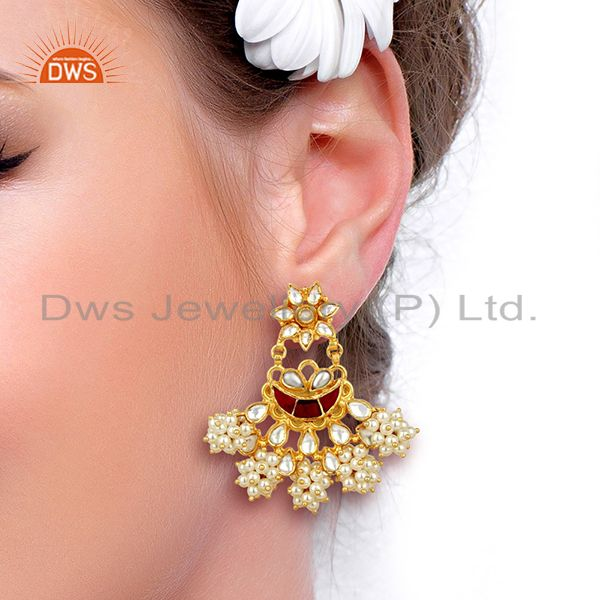 Suppliers Handcreafted Pearl Traditional Chandbali Silver Earring