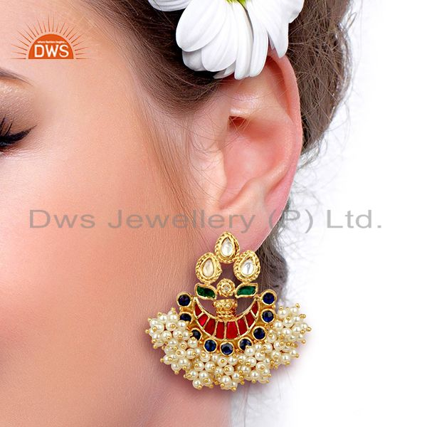 Suppliers Exclusively Chandbali Traditional Red Green Silver Handcrafted Earring