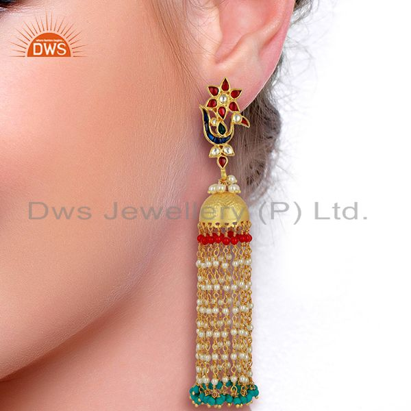 Suppliers Peacock Colored Stone Jhumkas 925 Sterling Silver Gold Plated Kundan Jewelry