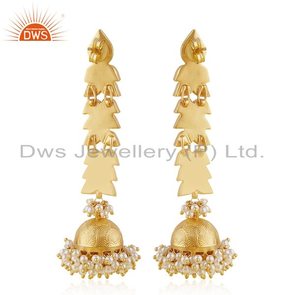 Suppliers Traditional Kundan 925 Sterling Silver Gold Plated Jhumka Earring Jewelry