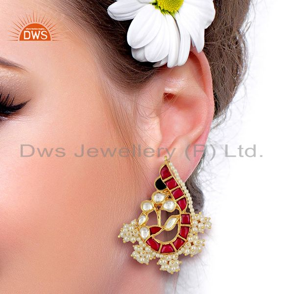 Suppliers Kundan Polki Peacock Inspired Sterling Silver Gold Plated Traditional Jewelry