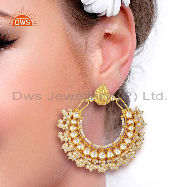 Suppliers Kundan Polki 92.5 Sterling Silver Gold Plated Chand Bali Temple Jewelry