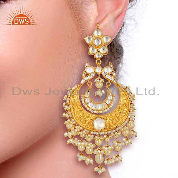 Suppliers Beautiful Chandbali With Meena Work Sterling Silver Gold Plated Kundan Jewelry