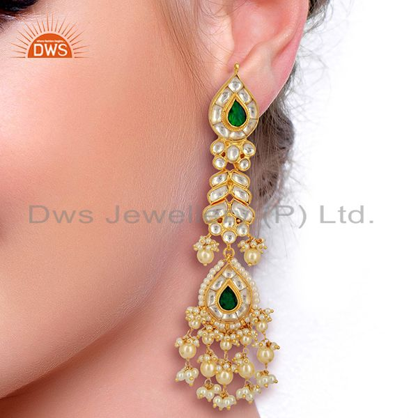 Suppliers Kundan Polki Sterling Silver Gold Plated Bridal Wedding Jewelry Earring