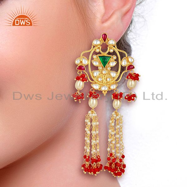 Suppliers Indian Designer 92.5 Sterling Silver Gold Plated Chandelier Earring Jewelry