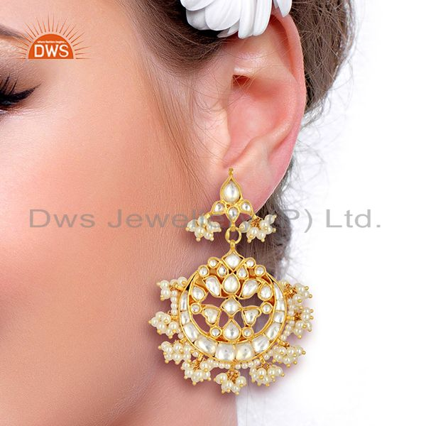 Suppliers Kundan Polki With Pearl Drop 92.5 Sterling Silver Gold Plated  Indian Jewelry
