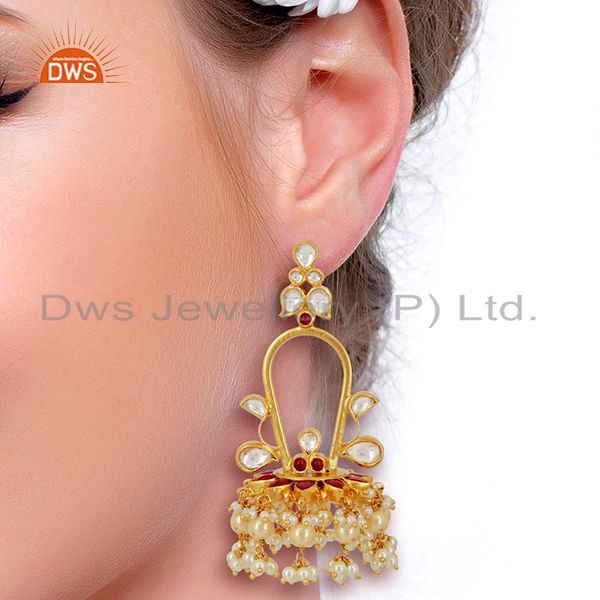 Suppliers Royal kundan Long Jhumki  Sterling Silver Gold Plated Indian Traditional Jewelry