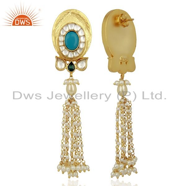 Suppliers Kundan Polki With Pearl Drop 925 Sterling Silver Traditional Jewelry