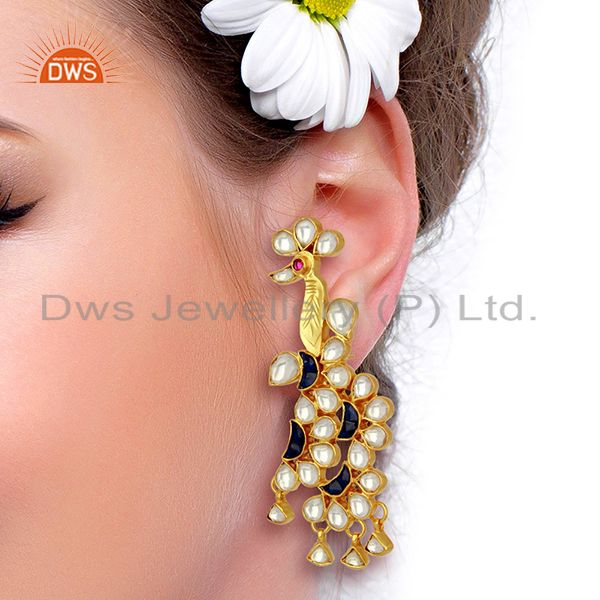 Suppliers Indian Bollywood New Kundan Polki 925 Sterling Silver Gold Plated Stud Earring