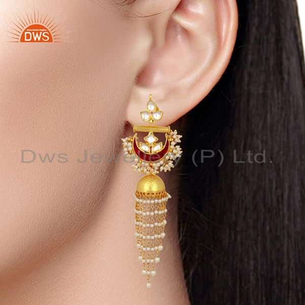 Suppliers Kundan Polki With Pearl Jhumkas  Sterling Silver Gold Plated Traditional Jewelry