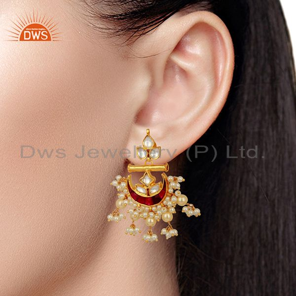 Suppliers Indian Traditional Kundan Polki Sterling Silver Gold Plated Chand Bali Earrings