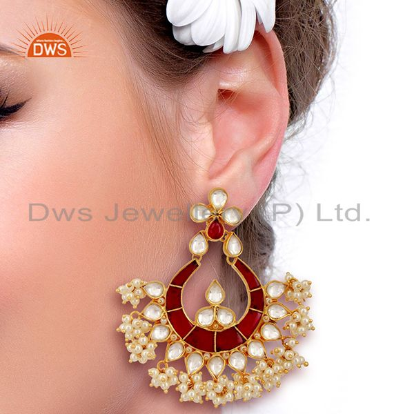 Suppliers Kundand Polki With Pearl Drop Sterling Silver Gold Plated Indian Wedding Jewelry