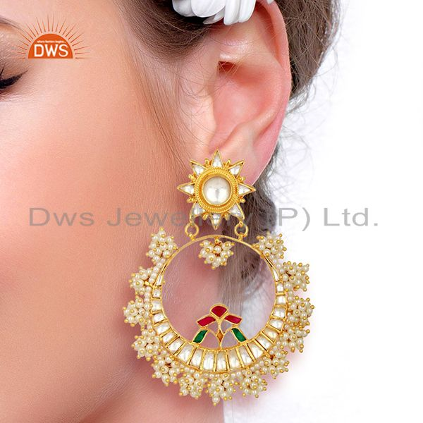 Suppliers Designer Kundan Polki 925 Sterling Silver Gold Plated Chand Bali Earring Jewelry