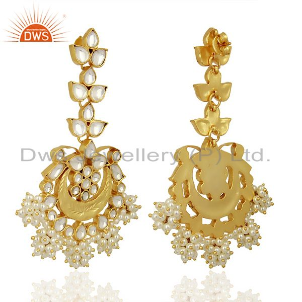 Suppliers Indian Traditional Kundan Polki Sterling Silver Gold Plated Chandelier Earring