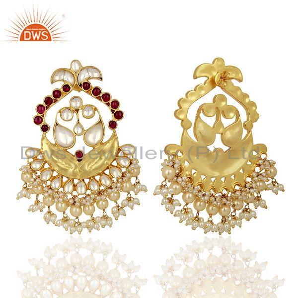 Suppliers Kundan Polki With Pearl Drop 925 Sterling Silver Indian Traditional Jewelry
