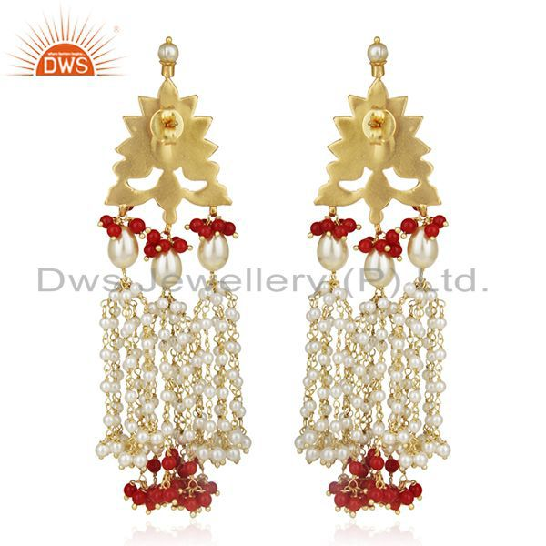 Suppliers Indian Traditional Kundan Meena Pearl 925 Silver Earring Manufacturer