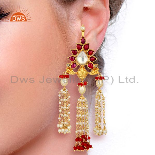 Suppliers Coral With Pearl Gemstone 925 Sterling Silver Gold Plated Chandelier Earrings