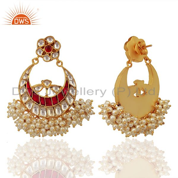 Suppliers Kundan Polki 925 Sterling Silver Gold Plated ChandBali Earring Wholesale Jewelry