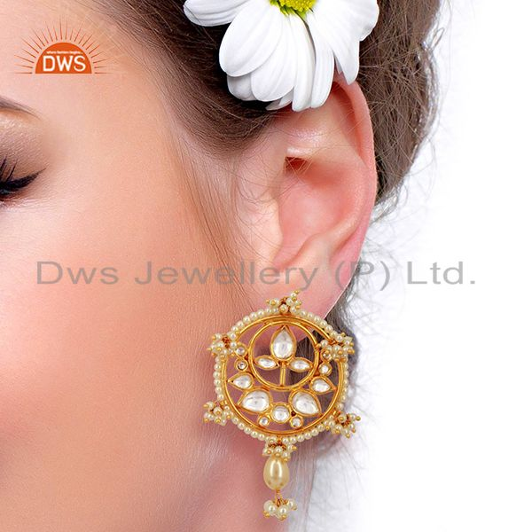 Suppliers Kundan Polki With Pearl Drop 925 Sterling Silver Gold Plated Wholesale Jewelry