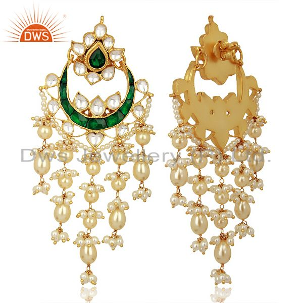 Suppliers Indian Wedding Collection 925 Sterling Silver Gold Plated Chand Bali Earrings