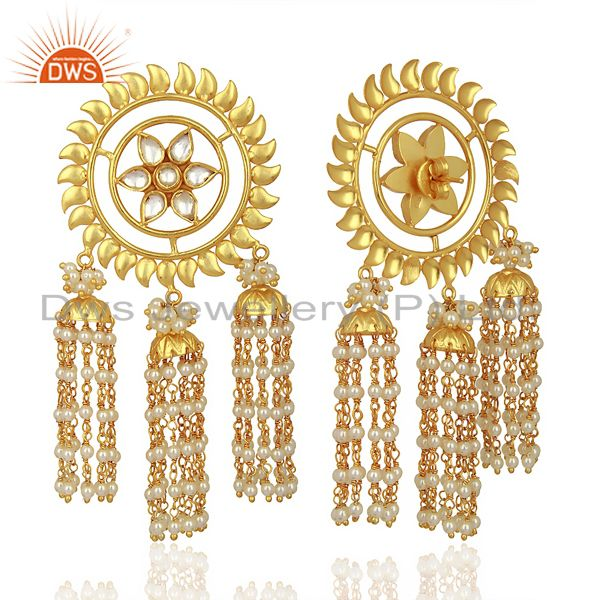 Suppliers Kundan Polki With Multiple Jhumkas Sterling Silver Gold Plated Earring Jewelry