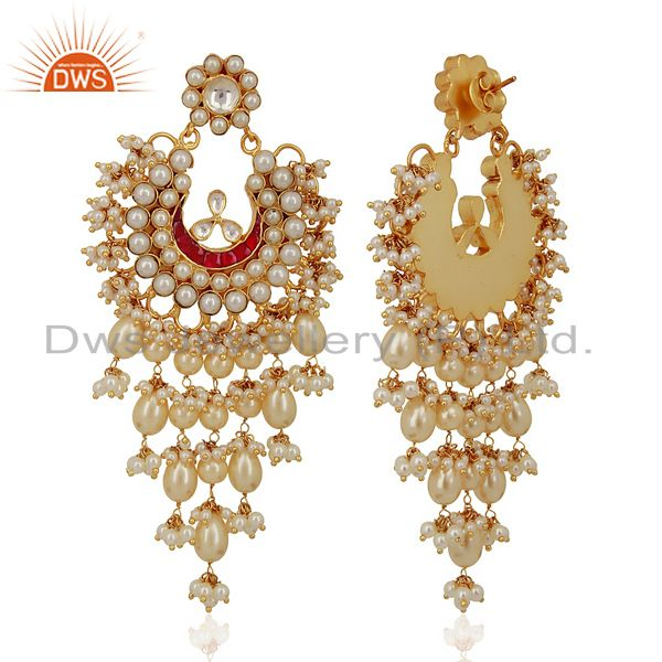 Suppliers Kundan Polki With Pearl 925 Sterling Silver Gold Plated Chand Bali Earrings
