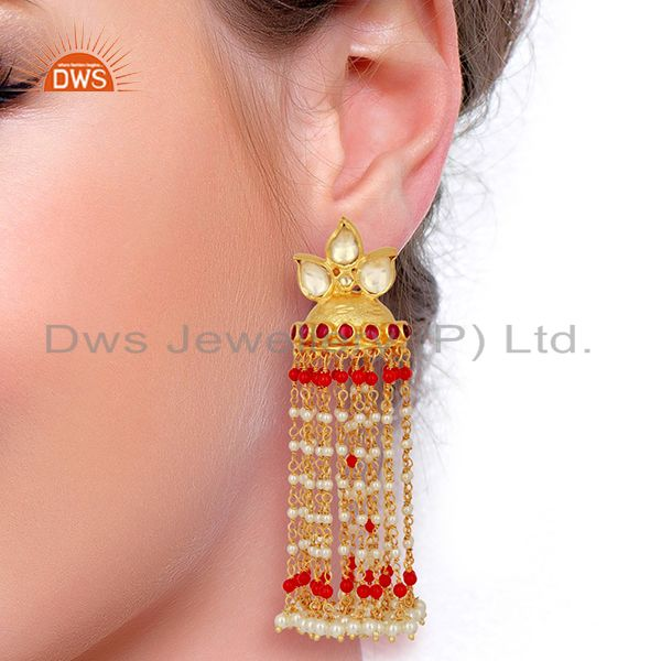 Suppliers Kundan Polki Sterling Silver Gold Plated Earrings Wedding Collection Jewelry