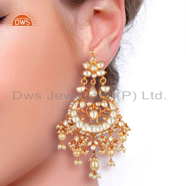 Suppliers Designer Kundan Polki Sterling Silver Gold Plated Indian Bollywood Collection