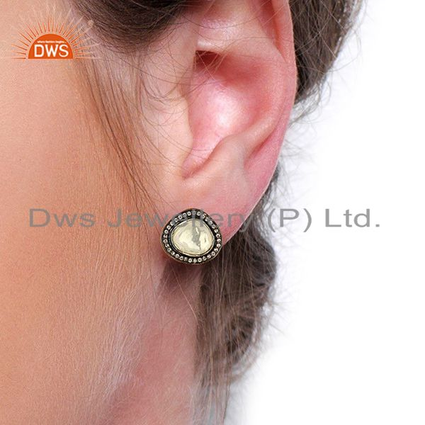 Suppliers Crystal Quartz Gemstone CZ 925 Silver Clip Earrings Jewelry Supplier