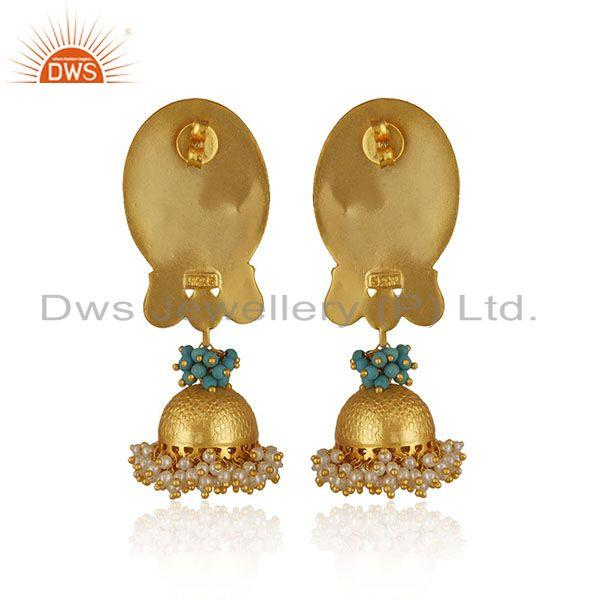 Suppliers Indian Traditional Gold Plated Solid 925 Silver Kundan Jhumka Earrings Wholesale