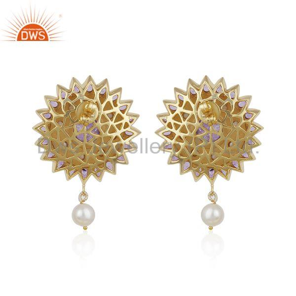 Suppliers Natural Amethyst and Pearl Gemstone Floral Design 925 Silver Earring Supplier