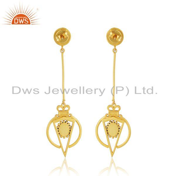 Suppliers Wholesale Gold Plated Silver Enamel Chain Earring Jewelry