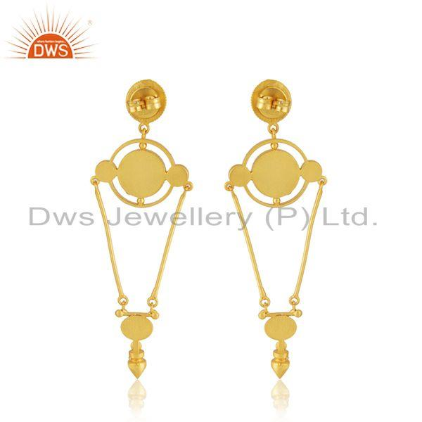 Suppliers Designer Hand Craved Silver Gold Plated Enamel Earring Jewelry