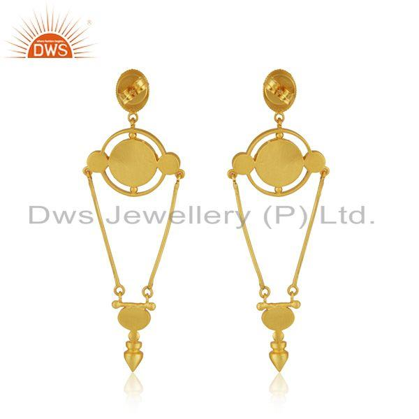 Suppliers Hand Craved Gold Plated 925 Silver Designer Enamel Earring Jewelry