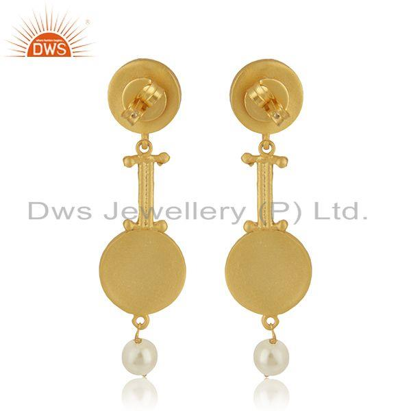 Suppliers Multi Color Meena Natural Pearl Gold Plated 925 Silver Earrings Wholesaler India