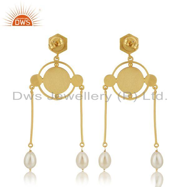 Suppliers Handcrafted Antique Face Gold Plated 925 Silver Dangle Earrings Manufacturer
